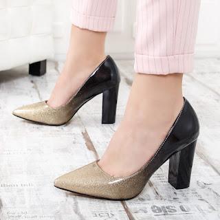 Pantofi Palpy negri cu auriu eleganti cu toc gros in degrade