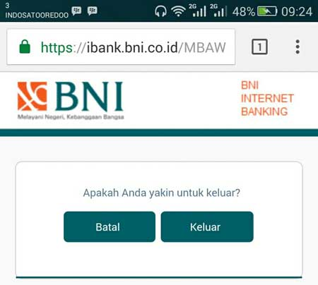 Cara Logout Dengan Benar di BNI Internet Banking