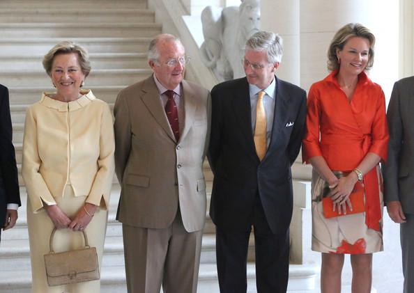 Herman van Rompuy, Jean Luc Dehaene, Elio Di Rupo, Queen Paola and King Abert II of Belgium, Prince Philippe and Princess Mathilde of Belgium, Guy Verhofstadt and Yves Leterme meet former Prime Ministers of Belgium at Laeken Castle in Brussels.