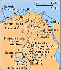 Sitios asociados con Egipto desde Predynastic a tiempos bizantinos, región del delta del Nilo