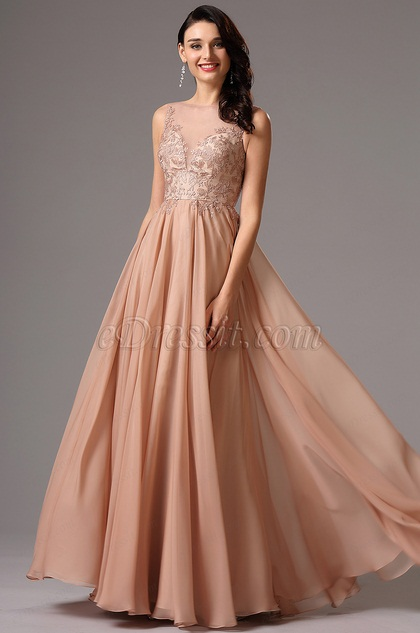 Plunging Neckline Rosy Brown Evening Dress
