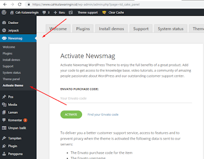 Cara Aktivasi NewsMag WordPress Theme