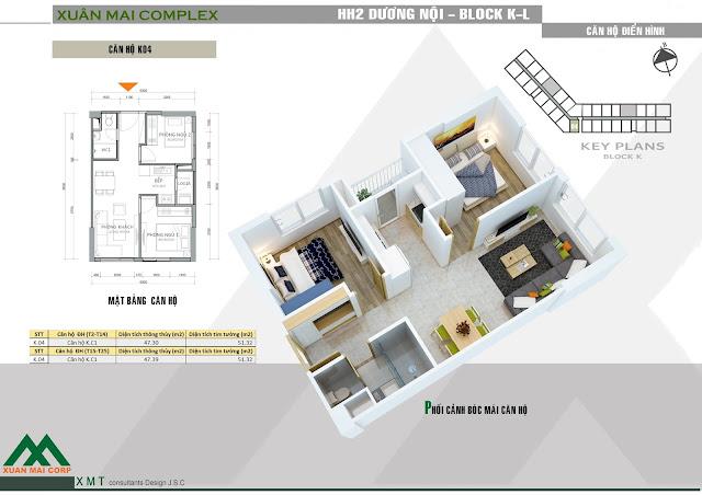 Thiết kế căn hộ 47m - Xuân Mai Complex