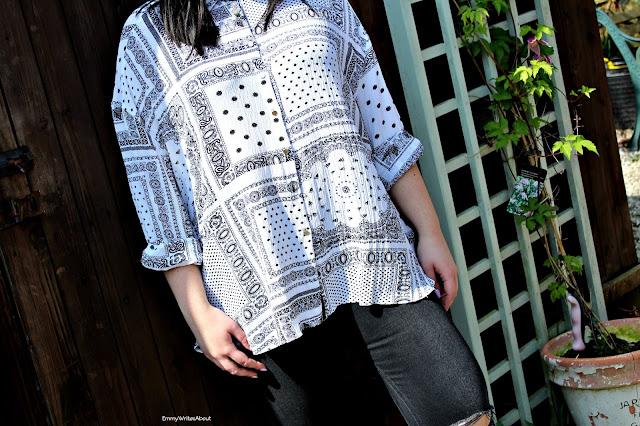Womens scarf print blouse