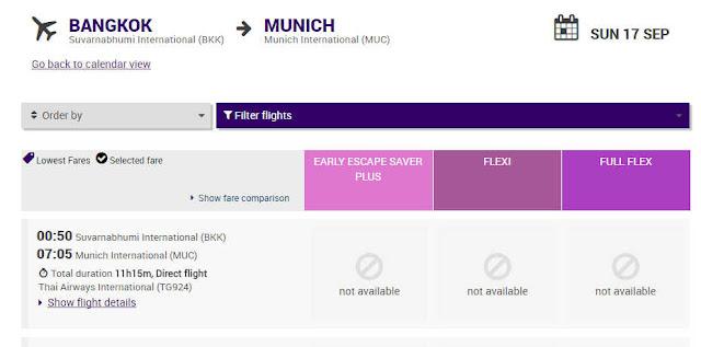 Thai Airways 5 Monate vor Rückflug Bangkok München