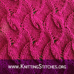 Free knitted lace pattern. Scroll lace stitch pattern. It is reversible making it a good choice for scarves and shawls