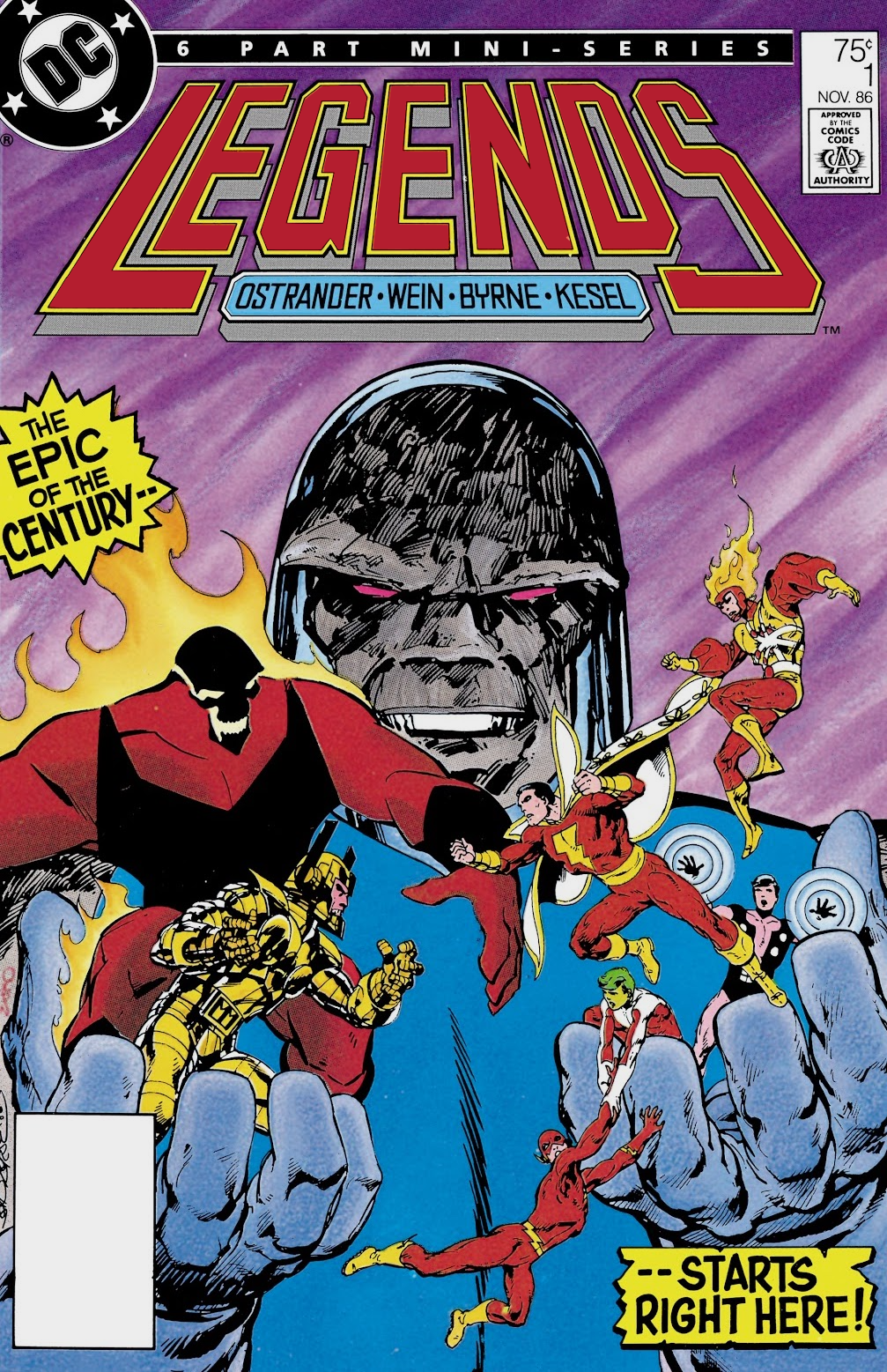 Large metaphorical figure of Darkseid holding villains Brimstone and Macro-Man in one hand with Flash, Captain Marvel, Changeling, Cosmic Boy, and Firestorm in the other