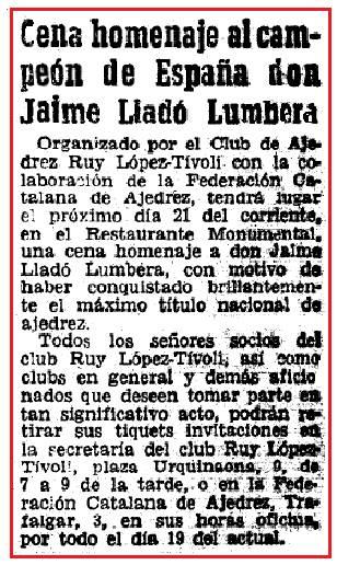 Cena homenaje a Jaume Lladó, Mundo Deportivo - 14 octubre de 1956