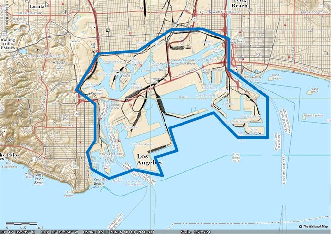 Map Of Port Los Angeles And Long Beach From Usgs