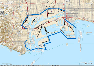 Map of Port of Los Angeles and Long Beach from USGS