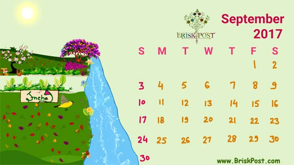September 2017 Calendar with monsoon to autumn season illustration
