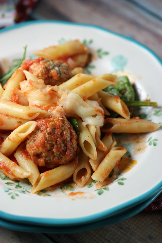 Plated Baked Mostaccioli with Turkey Ricotta Meatballs