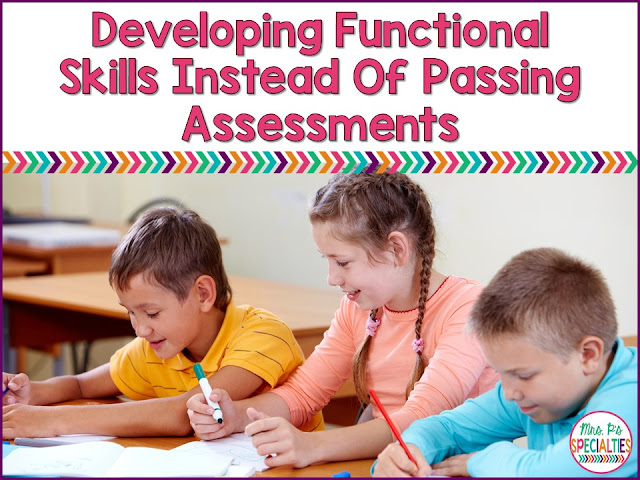"Did you read the title and think, ""What's the difference?"" Students mastering skills is good, but what is more important is developing functional skills. Functional academic and life skills are skills that can be used across settings, people and materials."