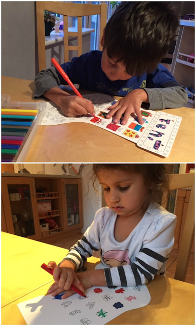 Children colouring in crafts from Baker Ross