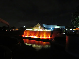 A backwards waterfall at the Imagination Pavilion in Epcot at Disney World