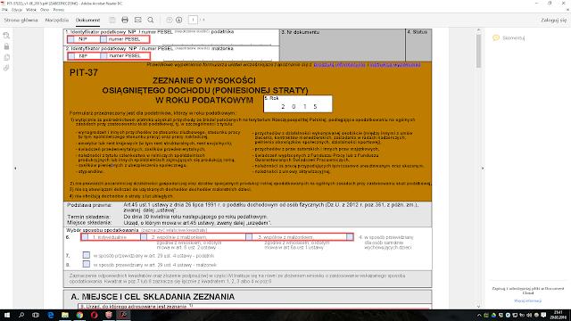 Formularz PIT-37 otworzony w programie Acrobat Reader