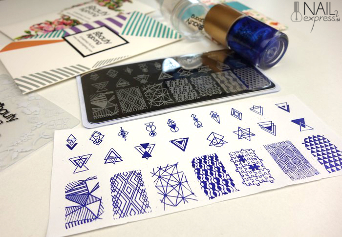 Negative Space Rectangle Nail Stamping Plate Triangle Geo Theme Nail Art Tool BBBXL-006