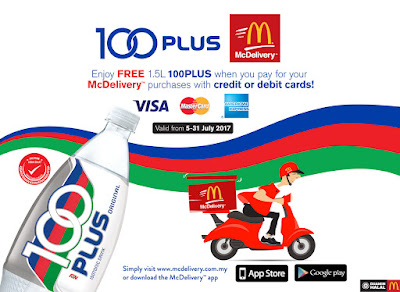 McDelivery Order FREE 100PLUS Drink Credit / Debit Cards Promo