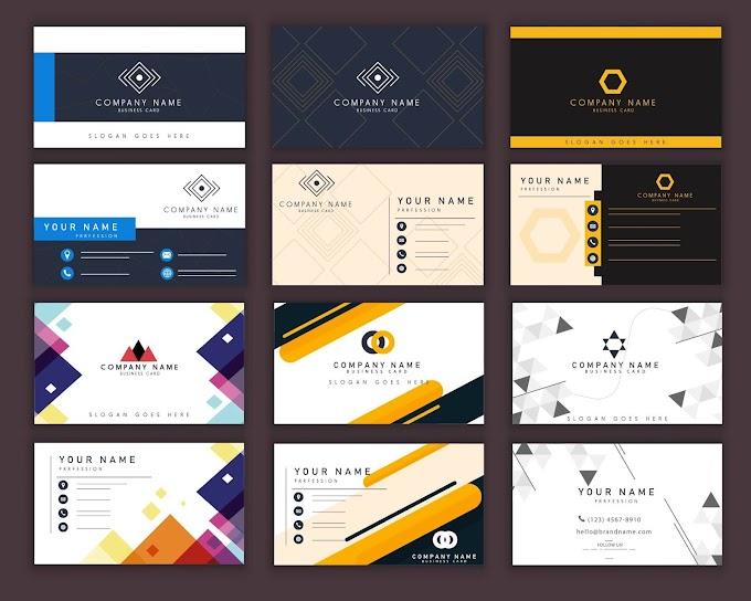 Business cards templates dark bright modern elegant decor Free vector