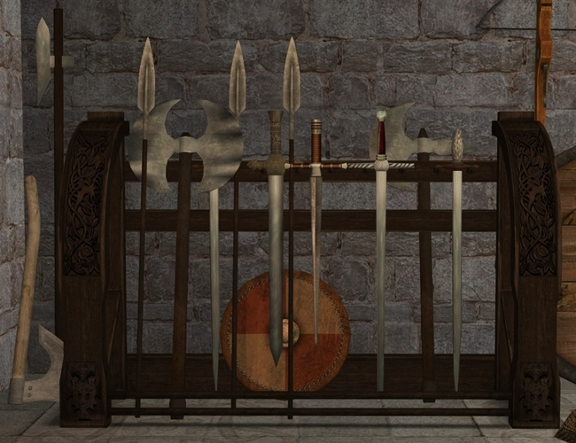 The Medieval Smithy Sims 2 Weapon Rack