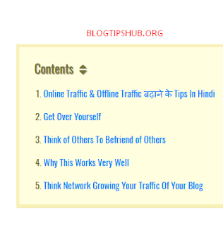 how to create Table of contents in blogger