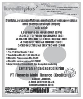 Rekrutmen PT. Finansial Multi Finance (Kreditplus)