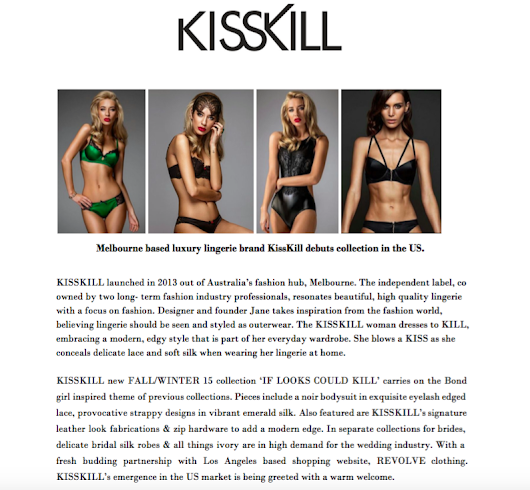 KissKill Intimate Apparel Available in Los Angeles