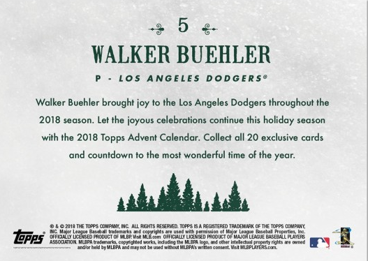 Dodgers Blue Heaven 2018 Topps Advent Calendar 5 Walker Buehler