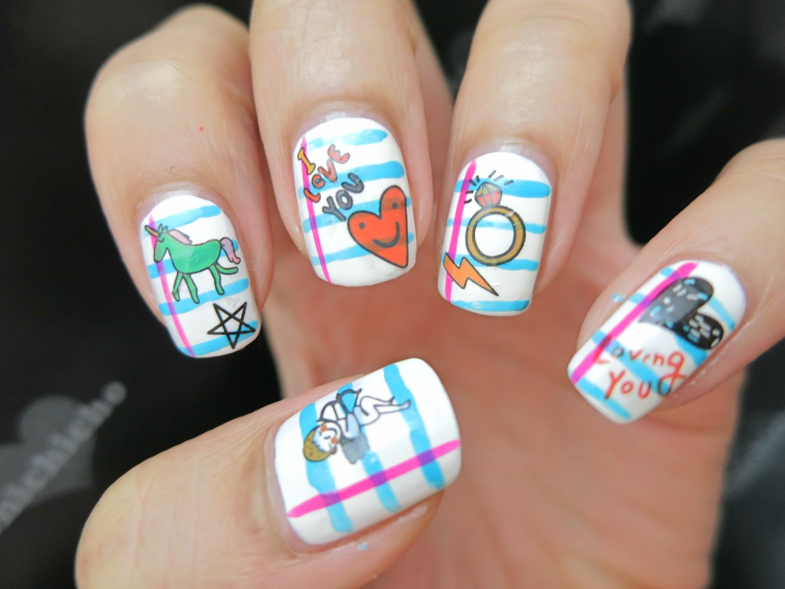 Doodle On Notebook Nail Art With Water Decal Chichicho