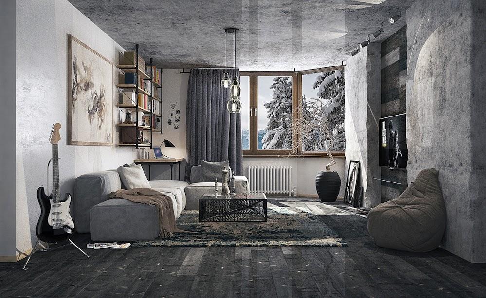 creative-gray-living-room