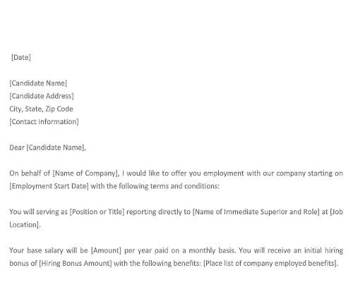 Company Offer Letter