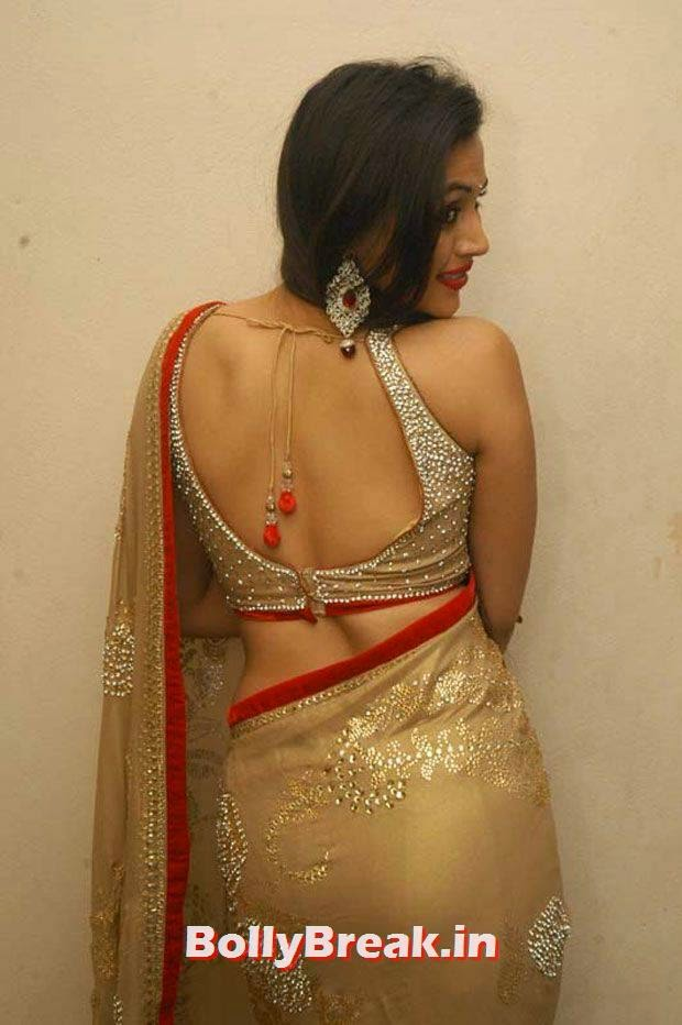 Charlotte Claire hot back in golden saree, Charlotte Claire in backless saree, Very Hot Images of Tamil Actress in Backless Blouse & Saree with Long hair