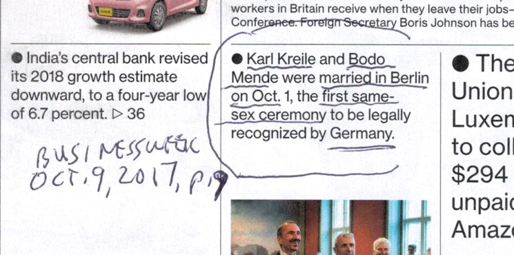 first gay marriage in Germany printed in Businessweek magazine Oct. 9, 2017, p. 9