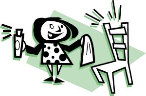 personnage qui nettoie une chaise et la fait briller (dessin)