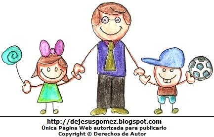 Dibujo de un padre feliz con sus hijos. Dibujo al Día del Padre hecho por Jesus Gómez