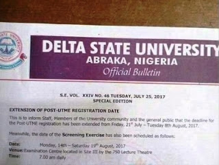 DELSU 2017/2018 Admission Screening Date & New Registration Deadline