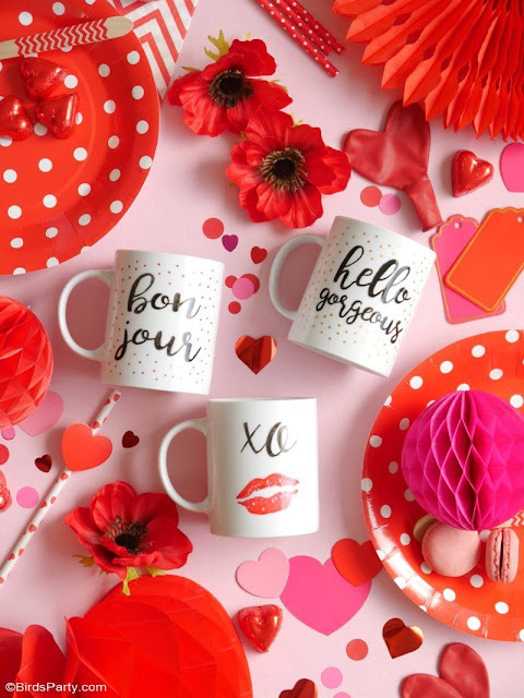 Valentine Calligraphy Mugs - An Easy Valentine gift to make.
