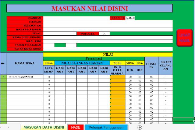 Download Aplikasi Rekap Nilai UTS dan UAS SD Otomatis Format Excel.Xlsb