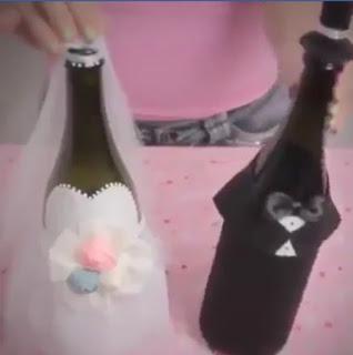 manualidad para regalar botellas casados
