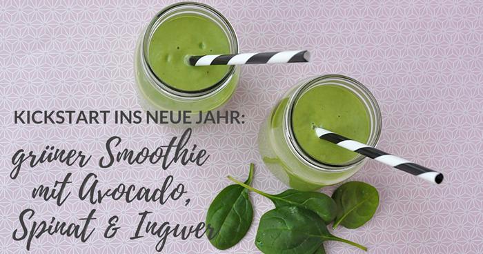 gruener Smoothie mit Avocado, Spinat und Ingwer