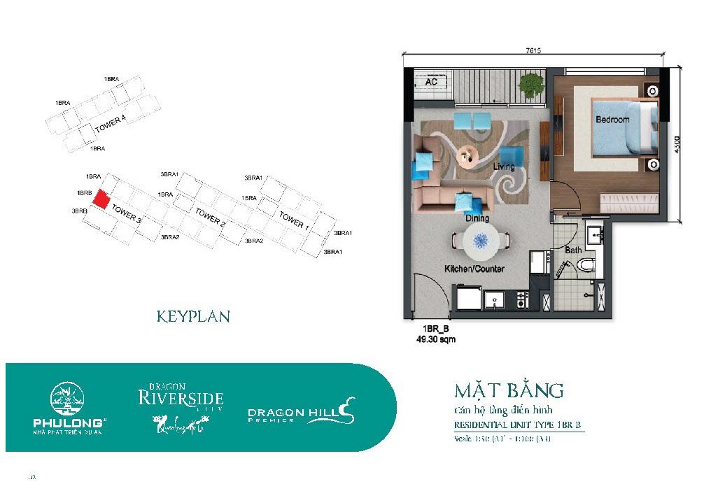 Thiết kế căn 1 phòng ngủ tại Dragon Riverside City