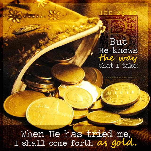 But he knows the way that I take; when he has tested me, I will come forth as gold. My feet have closely followed his steps; I have kept to his way without turning aside.