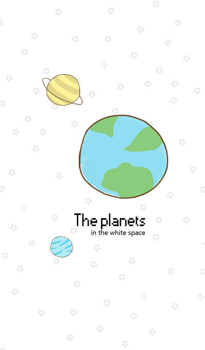 Planets in white space
