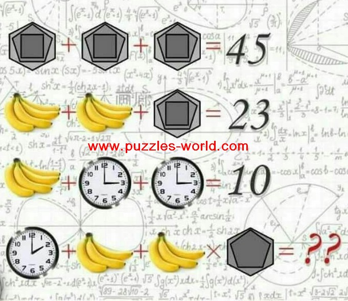 Clock Banana and Hexagon Logical Mathematics Puzzle