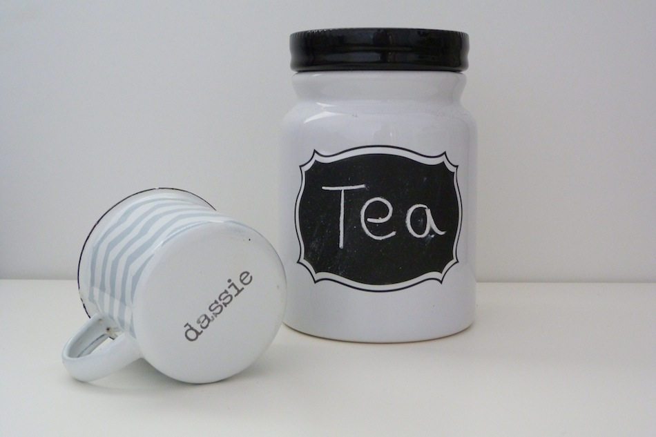 an image of chalkboard jar and dassie enamel mug