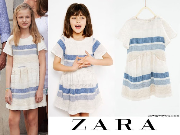 Princess Leonor wore ZARA Kids Striped flounce dress