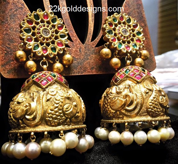 Antique Gold N Jadtar Set: Designer Antique Gold Jhumkas