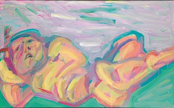 by Maria Lassnig - Donna Distesa - 1982