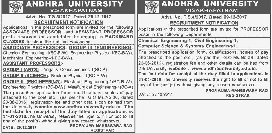 AU Professors Associate Assistant Recruitment 2018 Application Form