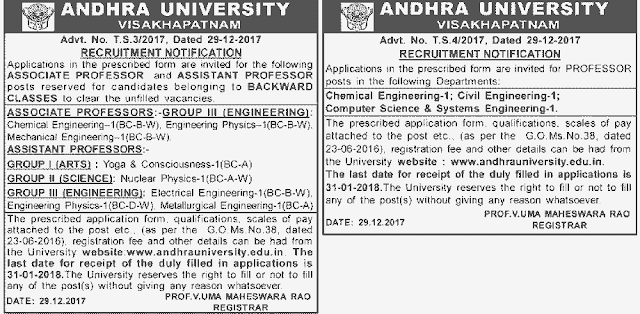 andhra university associate assistant professors recruitment 2017,au professors recruitment application form,au professors selection list results